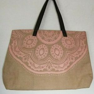 Handbags - Yoga or Beach Large Burlap Tote